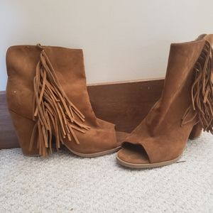 Shoes - Open toe heeled boots with fringed size 10